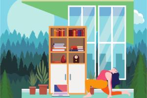 illustration of yoga pose - online wellness retreat