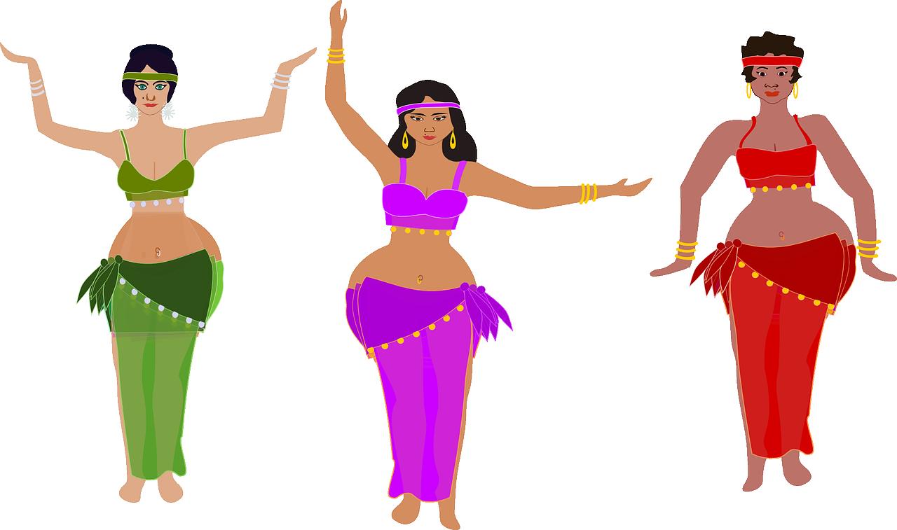 Oriental dance ladies digital illustration